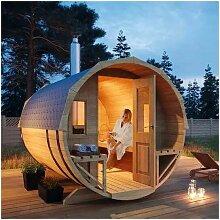 Fass-Sauna Sam , mit Ofen , Ausführung:Natur