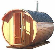 Fasssauna 2,5x2,2 m Lärche Fichte Elektro oder Holz Ofen Sauna Fass Gartensauna Laerche-Elektroofen