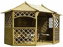 Fast & kostenlose Lieferung 12ft x 9ft (EX 13ft x 10ft) Garten Holz Pavillon Pavillon (Sandringham)