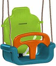 FATMOOSE Babyschaukel 3-in-1 TripleCruiser Kleinkindschaukel Babysitz Schaukelsitz mit Sicherheitsgurt, türkis-apfel-orange