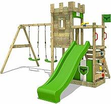 FATMOOSE Ritterburg BoldBaron Boost XXL Spielturm Kinder-Spielplatz mit Schaukel und Rutsche, extrabreitem Sandkasten und Podes