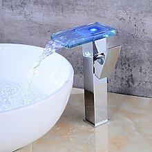 Faucerd Waschtisch Wasserfall Armatur Mit Lampe,