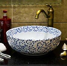 Faucet&xiyiji Waschbecken, Keramik, Blau und Weiß