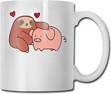 Faultier liebt Schwein Mode Kaffeetasse Porzellan