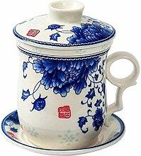Faultier Tasse Kaffetasse Handgemalte Blume Blau
