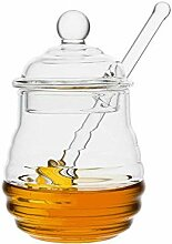 Favsonhome Honigglas mit Dipper, transparent, 250