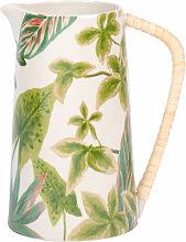 Fayence-Krug, weiß mit grünem Pflanzenmotiv und