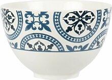 Fayence-Schale, blau und weiß mit Grafikmustern