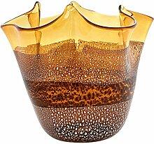 FAZZOLETTO Fascia Argento Murano Glas Schale Vase