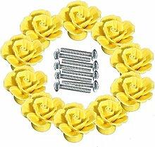 FBSHOP(TM) 10 PCS Gelb 40mm Retro-Stil Türknopf Keramik Rosen Blumen Küche Truhen Schrank Griffe Zugknopf Schubladen Türgriff Shabby Chic Griff