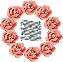 FBSHOP(TM) 10 PCS Rosa 40mm Retro-Stil Türknopf Keramik Rosen Blumen Küche Truhen Schrank Griffe Zugknopf Schubladen Türgriff Shabby Chic Griff