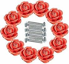 FBSHOP(TM) 10 PCS Rot 40mm Retro-Stil Türknopf Keramik Rosen Blumen Küche Truhen Schrank Griffe Zugknopf Schubladen Türgriff Shabby Chic Griff