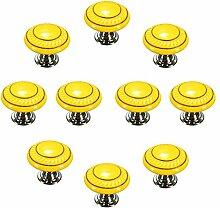 FBSHOP(TM) 10 Stück Gelb Retro Stil Runde