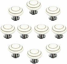 FBSHOP(TM) 10 Stück Weiß Retro Stil Runde