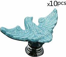 FBSHOP(TM) 10pcs Blau Kreative Cartoon Eagle Keramik Schrankknauf, Türknauf, Keramik Möbelknauf für Schränke, Schubladen, Truhen, Schlafzimmer und Badezimmer Möbelgriff