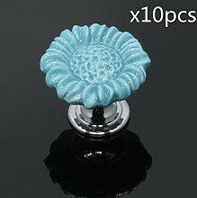 FBSHOP(TM) 10pcs Blau Sonnenblumen form Keramik Schrankknauf, Türknauf, Keramik Möbelknauf für Schränke, Schubladen, Truhen, Schlafzimmer und Badezimmer Möbelgriff