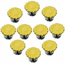 FBSHOP(TM) 10pcs Gelb Sonnenblumen form Keramik