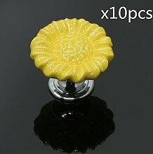 FBSHOP(TM) 10pcs Gelb Sonnenblumen form Keramik Schrankknauf, Türknauf, Keramik Möbelknauf für Schränke, Schubladen, Truhen, Schlafzimmer und Badezimmer Möbelgriff