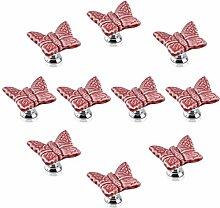 FBSHOP(TM) 10PCS Rosa Niedlich Schmetterling Zink Keramik Griffe Ziehen Schubladenknöpfe Türschränke Schrank-Tür Tür Knopf Küche Türgriff Möbelknopf Pull Hardware