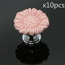 FBSHOP(TM) 10pcs Rosa Sonnenblumen form Keramik Schrankknauf, Türknauf, Keramik Möbelknauf für Schränke, Schubladen, Truhen, Schlafzimmer und Badezimmer Möbelgriff