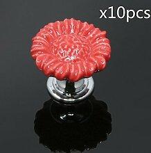 FBSHOP(TM) 10pcs Rot Sonnenblumen form Keramik Schrankknauf, Türknauf, Keramik Möbelknauf für Schränke, Schubladen, Truhen, Schlafzimmer und Badezimmer Möbelgriff