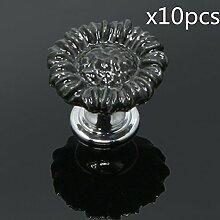 FBSHOP(TM) 10pcs Schwarz Sonnenblumen form Keramik Schrankknauf, Türknauf, Keramik Möbelknauf für Schränke, Schubladen, Truhen, Schlafzimmer und Badezimmer Möbelgriff