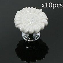FBSHOP(TM) 10pcs Weiß Sonnenblumen form Keramik Schrankknauf, Türknauf, Keramik Möbelknauf für Schränke, Schubladen, Truhen, Schlafzimmer und Badezimmer Möbelgriff