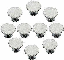 FBSHOP(TM) 10pcs Weiß Sonnenblumen form Keramik