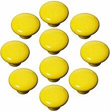 FBSHOP(TM) 10x33mm Gelb Porzellan Möbelknöpfe