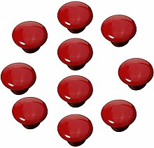 FBSHOP(TM) 10x33mm Rot Porzellan Möbelknöpfe