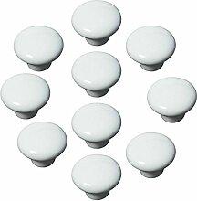 FBSHOP(TM) 10x33mm Weiß Porzellan Möbelknöpfe