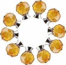 FBSHOP(TM) 10xNeu 30mm Gelb Kristallglas Kugel-Form Kindermöbel Schubladengriffe Dekorative Kabinett-Fach Knöpfe Kreative Schrank Möbelknauf mit Schraube