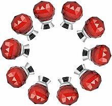 FBSHOP(TM) 10xNeu 30mm Rot Kristallglas Kugel-Form Kindermöbel Schubladengriffe Dekorative Kabinett-Fach Knöpfe Kreative Schrank Möbelknauf mit Schraube