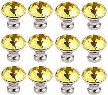 FBSHOP(TM) 12 Stück 30mm Gelb Möbelknöpfe