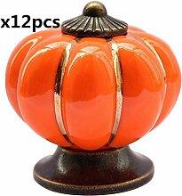 FBSHOP(TM) 12pcs 40mm Orange Neuheit Keramik Kürbis geformte Tür Knopf Küche Türgriff Möbelknopf Kabinett Schrank Schublade Knopf für Kinder Schlafzimmer