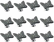 FBSHOP(TM) 12PCS Grau Niedlich Schmetterling Kindermöbel Schubladengriffe Dekorative Keramik Tür Kabinett Türgriff Kreative Schrank griff Knöpfe Ziehen mit Schraubenull