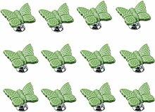 FBSHOP(TM) 12PCS Grün Niedlich Schmetterling Kindermöbel Schubladengriffe Dekorative Keramik Tür Kabinett Türgriff Kreative Schrank griff Knöpfe Ziehen mit Schraubenull