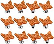 FBSHOP(TM) 12PCS Orange Niedlich Schmetterling Kindermöbel Schubladengriffe Dekorative Keramik Tür Kabinett Türgriff Kreative Schrank griff Knöpfe Ziehen mit Schraubenull