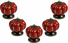 FBSHOP(TM) 5PCS Rot Küche Pumpkins Griffe Ziehen Schubladenknöpfe Zink Keramik Türschränke Schrank-Tür Tür Knopf Küche Türgriff Möbelknopf Pull Hardware