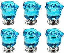 FBSHOP(TM) 6 Stück Blau Rose Form Kristall