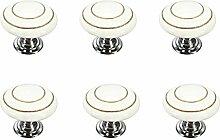 FBSHOP(TM) 6 Stück Weiß Retro Stil Runde Keramik-Möbelknauf Möbelknopf Türknopf für Truhen, Schränke, Schubladen,Küche, Schlafzimmer, Badezimmer DIY steuern Dekoration