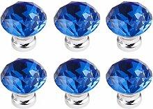 FBSHOP(TM) 6PCS Blau Diamantschliff Kristall klar