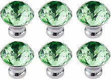 FBSHOP(TM) 6PCS Grün Diamantschliff Kristall klar