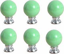 FBSHOP(TM) 6PCS Grün Keramik-Türgriffe runde Zucker Shaped Küche Schubladen Schrank Möbel Fach Handle MöbelKnopf Griffe Dekorative