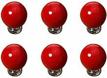 FBSHOP(TM) 6PCS Rot Keramik-Türgriffe runde Zucker Shaped Küche Schubladen Schrank Möbel Fach Handle MöbelKnopf Griffe Dekorative