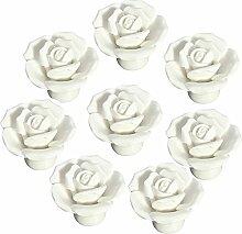 FBSHOP(TM) 8 Stück Weiß Vintage Floral Rose Form