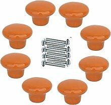 FBSHOP(TM) 8xNeu 33mm Orange Keramik Kreative Türknopf Kabinett Knob Schrank Schublade Ziehen Griff Möbelgriffe Set Tür der Schublade ,Schrank , Kleiderschrank