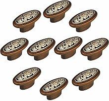 FBSHOP(TM) Bronze Rose Möbelknopf Set x 10, Möbelknauf, Möbelknöpfe, Möbelgriff, Vintage Zink Schrankknauf