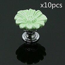 FBSHOP(TM) Grün Möbelknauf, Möbelknöpfe, Möbelgriff, Vintage Keramik Porzellan Schöne Chrysantheme Form(Satz von 10)