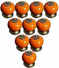 FBSHOP(TM) Orange 10PCS Neu Europa Stil Keramik Türknauf Moderne Minimalist Griff Schrank Nachttisch Schublade Bücherregal Schuhschrank Küchenschublade Pull Griffe handbemalt Tür Decor